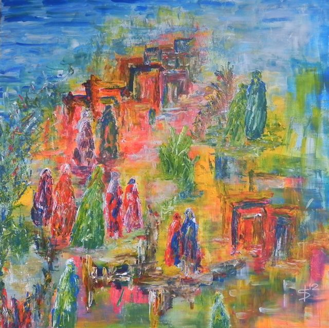 Procession in honour of La mare de Deu de Loreto - ©Irka Stachiw - #landschappenvandeziel #painting #art #soul #people #red #blue #green #modernart #contemporaryart #irkastachiw