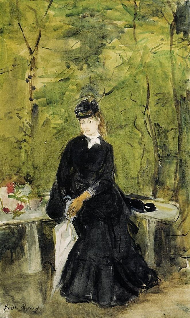 Young Lady Seated on a Bench  Artist: Berthe Morisot: Artists, Benches, Morisot 1841 1895, Impressionist, Berthe Morisot, Painting, Young Lady