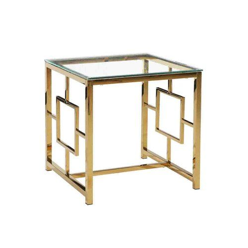 Found it at AllModern - Stainless Steel and Glass End Table