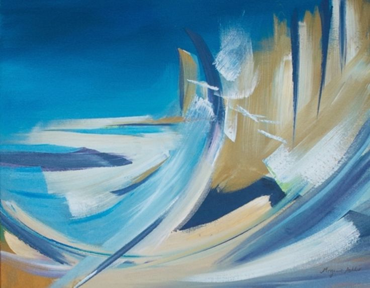 dynamic abstract acrylic painting in blue and gold