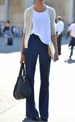Just wore this outfit a few weeks ago - Navy pants with a white tank and cream cardigan