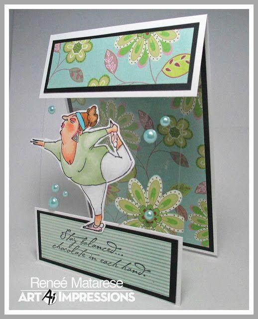 Art Impressions Rubber Stamps: Ai People-4209 Yoga Yolanda. Handmade clear acetate card.