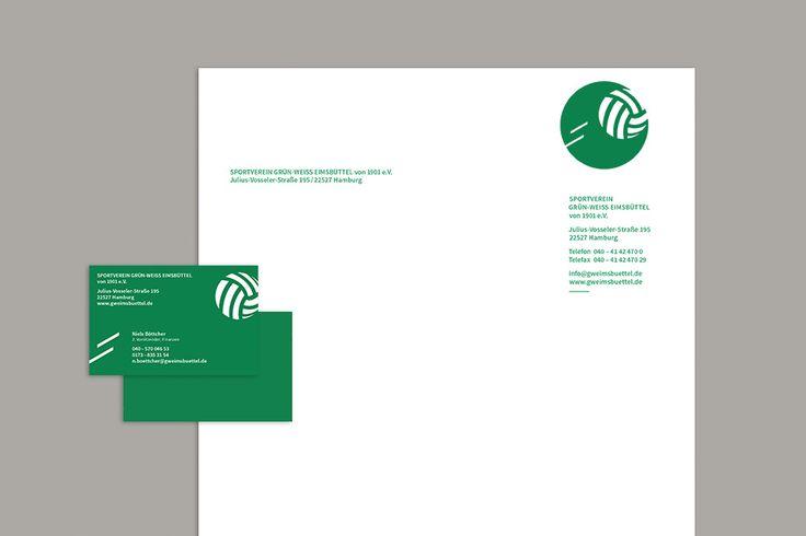 Grün – Weiß Eimsbüttel e.V. Neugestaltung des Erscheinungsbilds des Hamburger Sportvereins. Konzeption und Gestaltung der Webseite, aller Druckmedien und Außenbeschilderung.  #ci #stationary #letterhead #identity