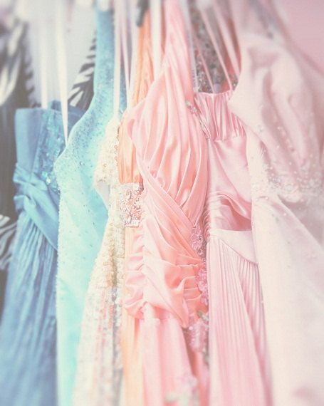 Party Dresses Valentines Day Pastel Colors Pastel Pink Blue Salmon Teal Soft and Dreamy, Fine Art Print.