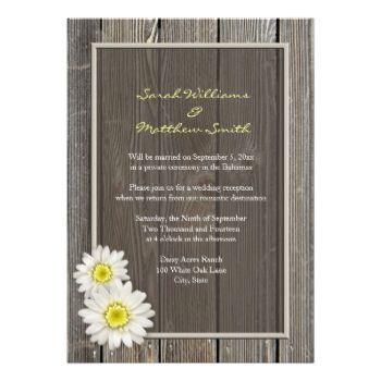 Reception Only Invitations, for those who will have a private ceremony, or elopement. Rustic wedding invitations with a white daisy design on an aged barn wood background. Get the matching Rustic Wedding Reply Cards below: Rustic Barn Wood Daisy Wedding RSVP Response Cards by PMCustomWeddings Matching Rustic Love Stamps and RSVP Postage Stamps: Rustic Daisies Love Stamps by PMCustomWeddings Rustic Daisies RSVP Stamps by PMCustomWeddings #wedding #rustic #daisy #barn #wood #barnwood #country…