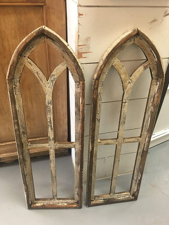 Vintage Inspired Pair Of Rustic Church Arched Distressed Old World