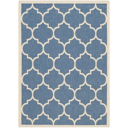 Mona Indoor and Outdoor Rug in Blue and Beige  at Joss and Main