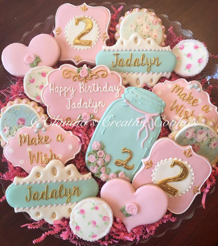 Shabby chic birthday cookies. https://www.annclarkcookiecutters.com/product/mason-jar-cookie-cutter