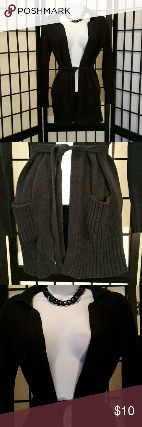 No Boundaries Black Open Sweater Good Condition, no tear, holes or stain, shows wear, 2 Front Pockets, Tie Waist, Long Sleeve, Ribbed Collar & Hem, Accessories not included. Sweaters