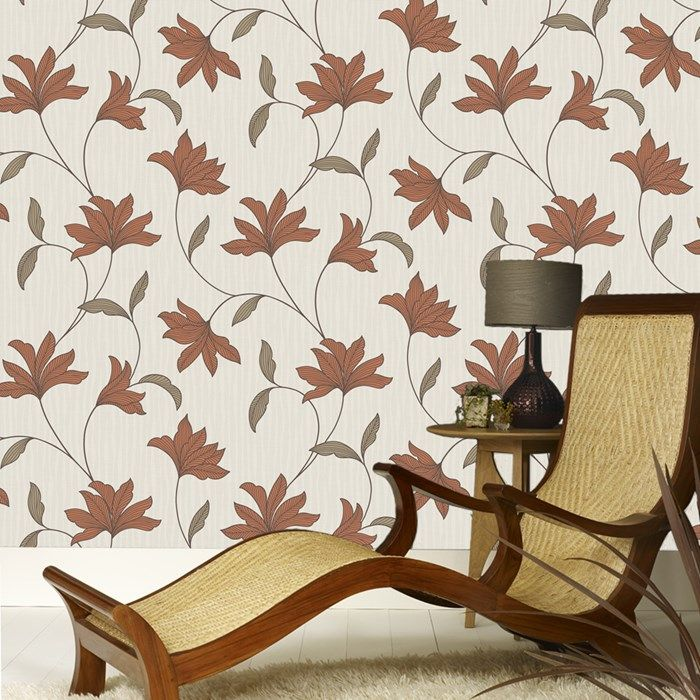 Alannah Burnt Orange Wallpaper by Graham and Brown (DINING ROOM)