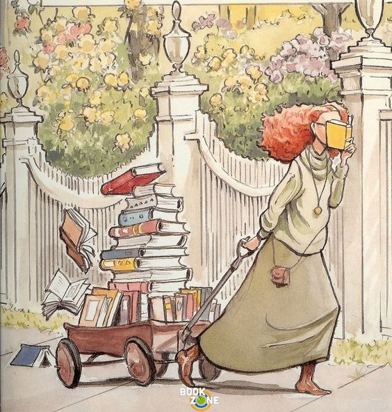 I've loved books since I was old enough to read them; please support literacy across the globe  [PICTORIAL, repinned:  a girl pulling a wagon full of library books]