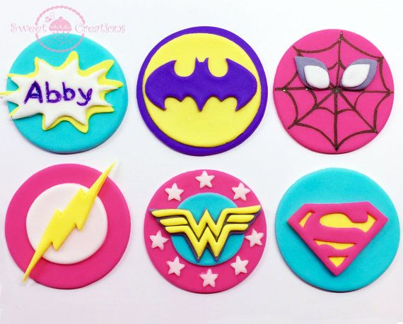List is for 12 Edible fondant Girl inspired Superhero Cupcake or Cookie Toppers. It comes with a verity of Batgirl, Spider-Girl, Super-girl,