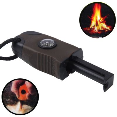 Outdoor Survival Magnesium Flint Fire Starter with Compass & Whistle (Coffee)
