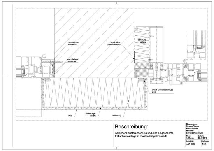 a 01 0010 seitlicher fensteranschluss und eine eingespannte faltschiebeanlage in pfosten riegel. Black Bedroom Furniture Sets. Home Design Ideas