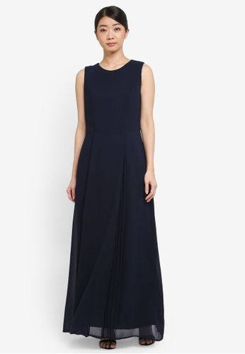 Petite Ink Pleated Maxi Dress from Wallis in navy_1