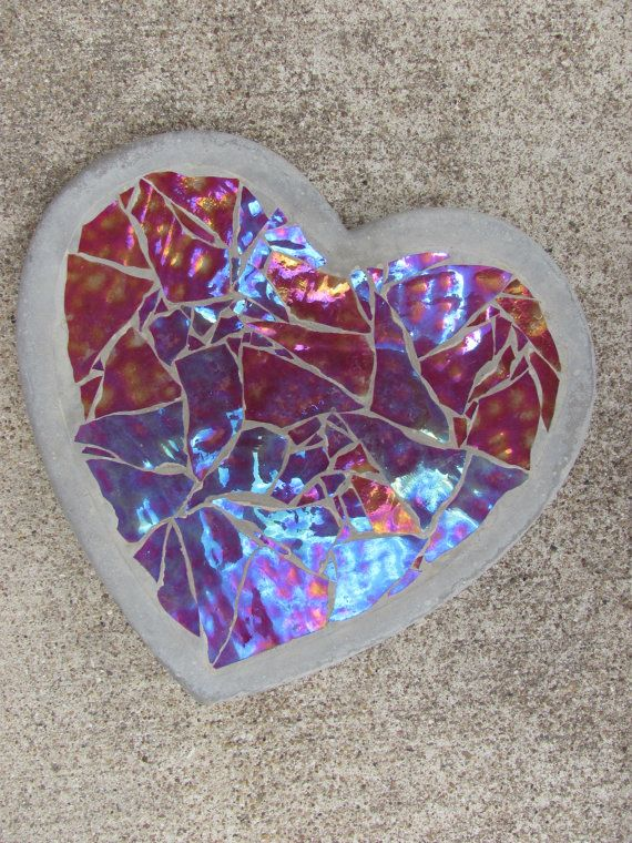 Custom Stained Glass Stepping Stone Heart 9x9