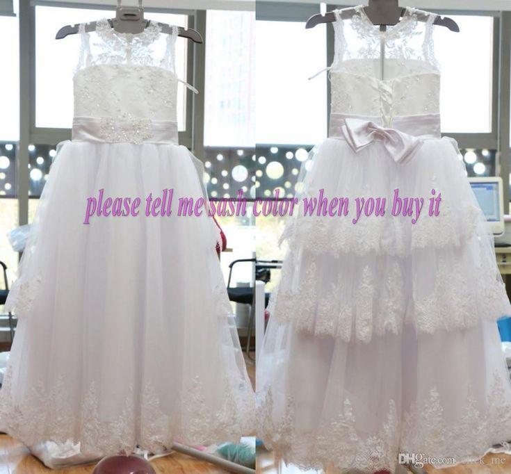 La muchacha de flor 2015 del resorte viste los vestidos de partido de la muchacha de los niños de la comunión de la Navidad de la fiesta de cumpleaños de la niña de la red del cordón del marco de la joya de la vendimia
