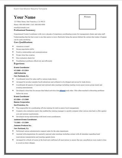Event-Coordinator-Resume-Template