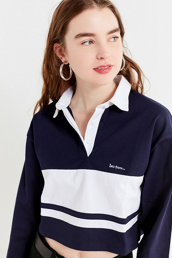 Slide View  1  UO iets frans...Long Sleeve Cropped Polo Shirt ... 3775871c781
