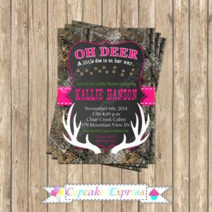 Camo baby shower invitation, girl baby shower invite, deer Hunting, camouflage Birthday, camo baby shower, PRINTABLE Invitation, realtree