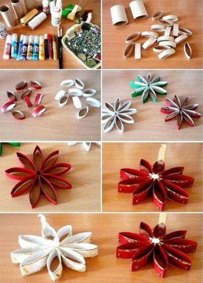 6. fiori con petali di rotoli di carta igienica