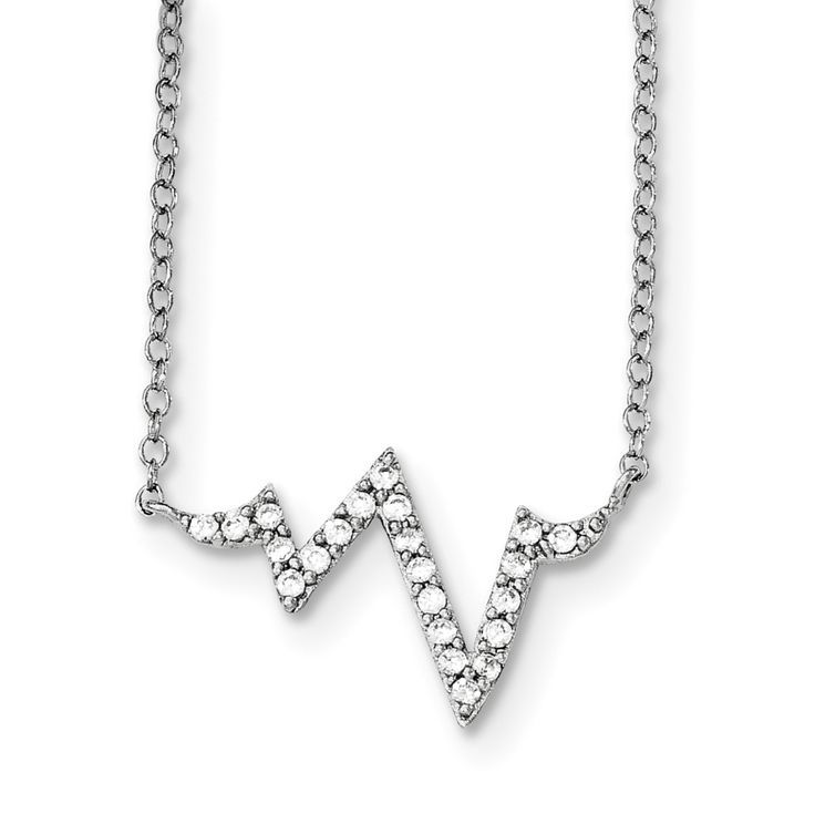 Sterling Silver Rhodium-plated CZ Fancy w/2in ext. Necklace QG3694-16