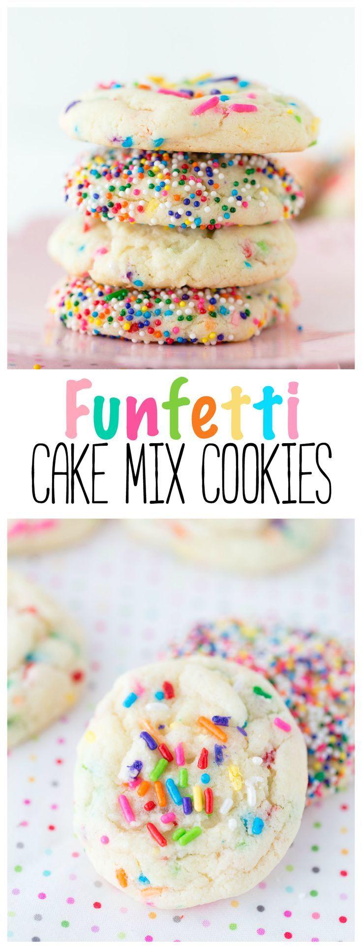 Funfetti Cake Mix Cookies | Cookies | Cake Mix Recipe | Cake Mix | Birthday | Desserts |