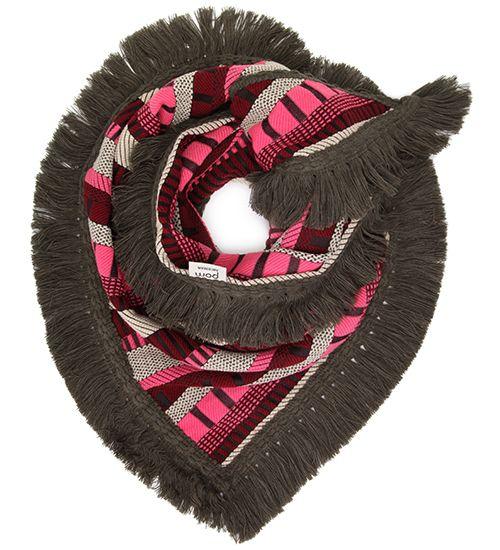 Grof geweven stoere shawl in de kleuren zwart, wit, roze en bordeaux rood. Dat geeft deze shawl een folklore en mooie look.