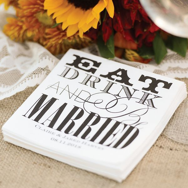Modern Eat Drink and Be Married Beverage Napkins - Set of 100  #wedding #napkins