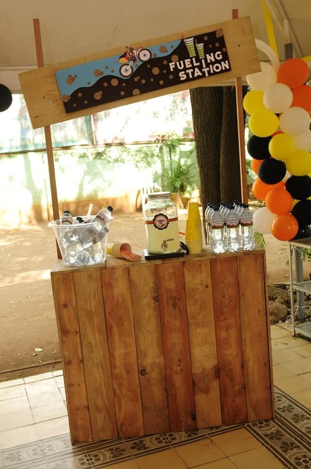 Boys Dirt Bike Themed Birthday Party Drink Station Ideas