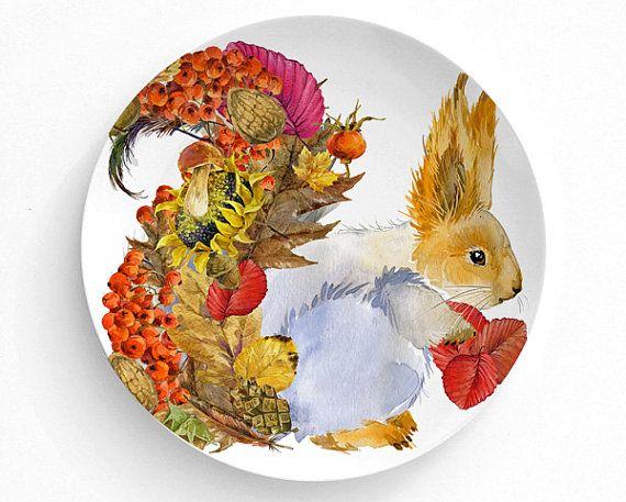 Melamine Plate, Plate, Decorative Plate, Plates, Wall Decor, Home Decor,  Melamine Dinner Plate, Animals, Thanksgiving Decor, Pumpkin, Fall