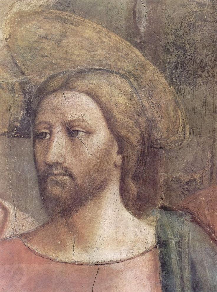 Masaccio (Tommaso di Ser Giovanni di Simone) ~ The Tribute Money (detail of the face of Jesus, pre-restoration), c.1424-25