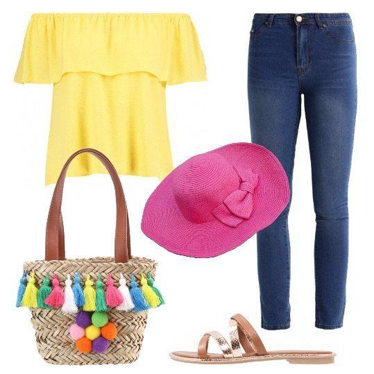 Camicetta+con+spalle+scoperte,+jeans+skinny+alla+caviglia,+ciabattine+senza+tacco,+borsa+a+mano+in+paglia+e+splendido+cappello.+Alla+moda,+colorata+e+pronta+per+passeggiare+sotto+il+sole.