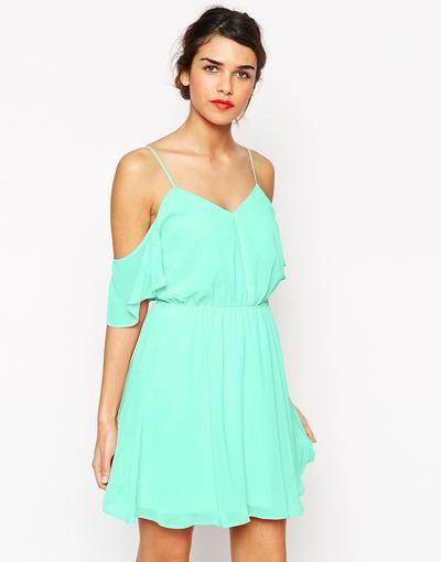 ASOS Cold Shoulder Flutter Sleeve Skater Dress at asos.com #dress #offduty #cold #women #covetme