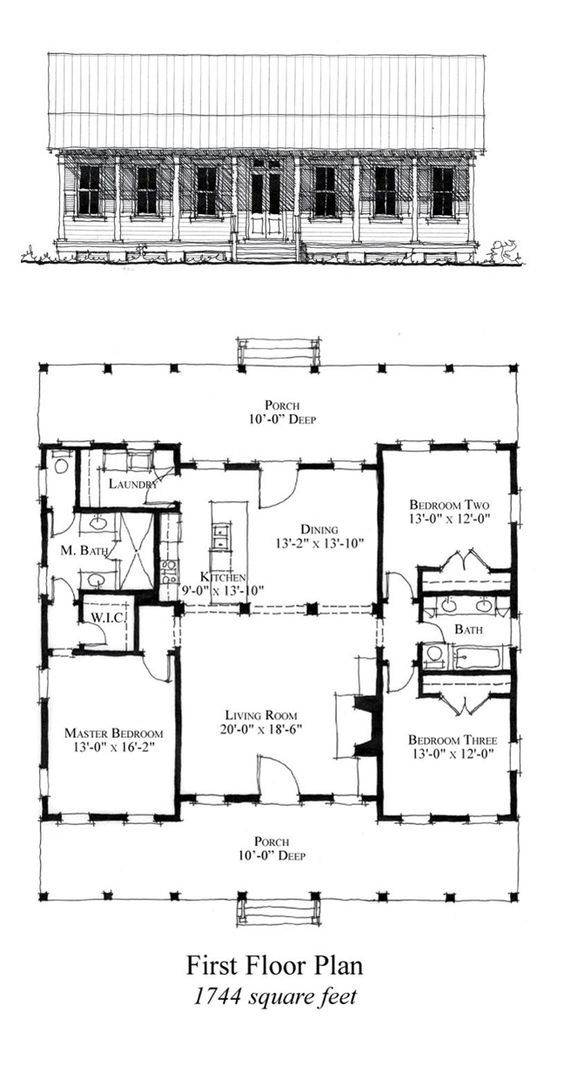 COOL House Plan ID: chp-49769 | Total Living Area: 1744 sq. ft., 3 bedrooms & 2 bathrooms. #houseplan #carolinahome