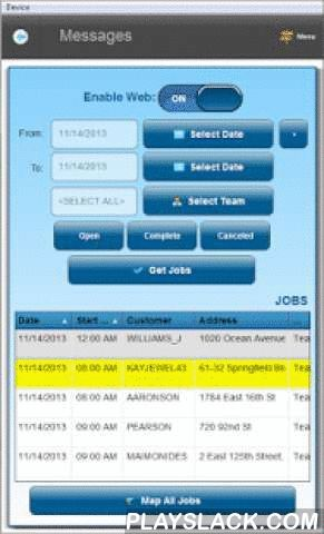 SM-Mobile  Android App - playslack.com ,  SM-Mobile is an app to allow field service workers to keep track of all scheduled job appointments they have for the day (or week, or any other time period). The app gets data from the company server, and displays it on the mobile device. Then, the technician, or supervisor can easily see all of his/her jobs for the period. A finger-tap will reveal all details for the job.The field technician can also get a signature from the customer, take photos at…