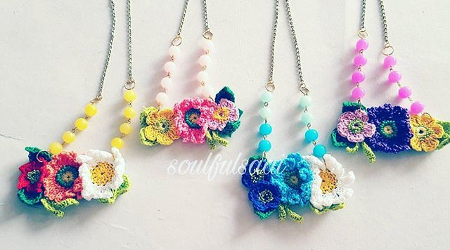 WEBSTA: all time favourite flower child necklaces... going foreign shores... #soulfulsaai #handmade #necklace #statementpiece #crochetjewellery #beadcrochet #crochet