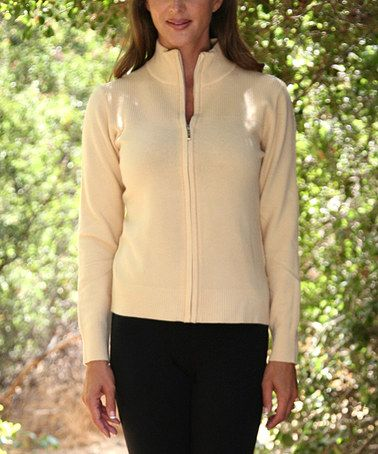 Look at this #zulilyfind! Beige Zip-Up Sweater - Women & Plus #zulilyfinds