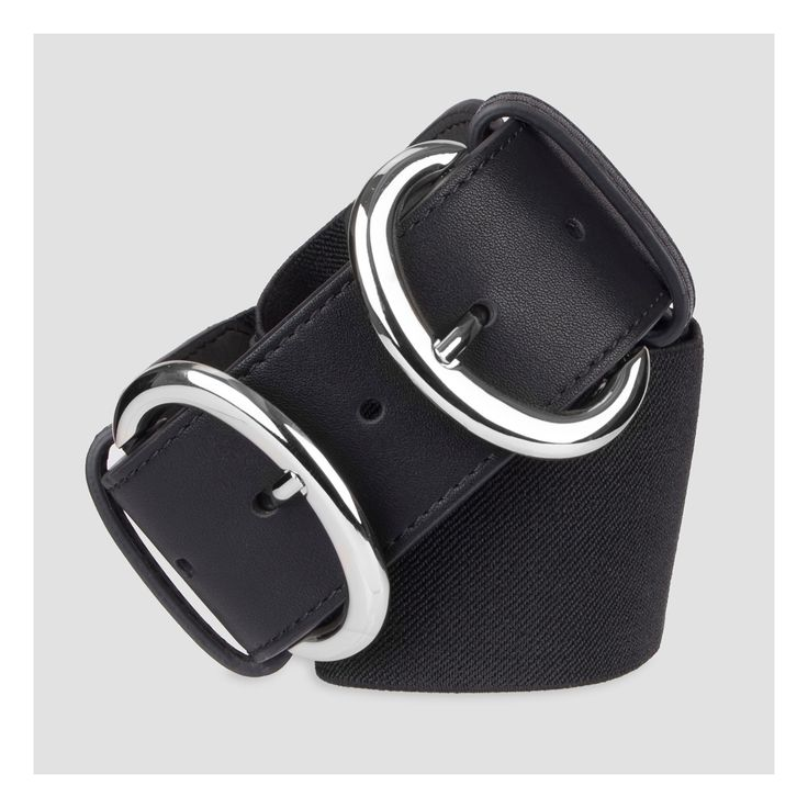 Women's Wide Stretch Belt with Silver Double Buckle - A New Day Black S