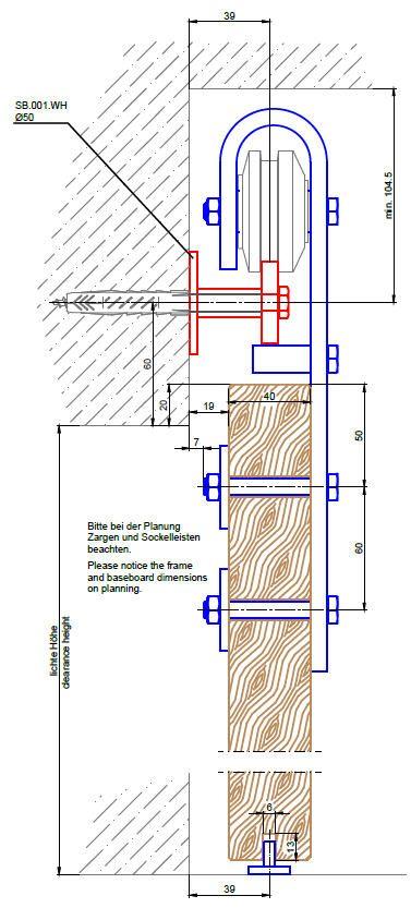 Schiebetürbeschlag Stahl S235JR, Schwarz brüniert für Holztüren 40mm.  Einzelkomponnten: Laufschiene Stahl Schwarz brüniert 40x8mm, je angefangene 100mm (Bsp. 2150mm Gesamtlängen = Menge 22 Stück) Laufschienen-Kopplung -...