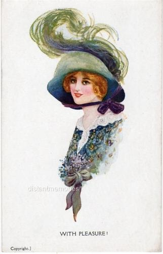 ART NOUVEAU LADY IN LARGE HAT WITH LARGE FEATHER CELESQUE