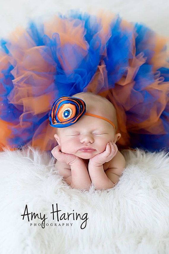 Gators Orange and Blue Tutu & Headband- Sports, UF, Baby, Girl, Newborn, Infant, Toddler, photo prop, flowers, rhinestones on Etsy, $44.95