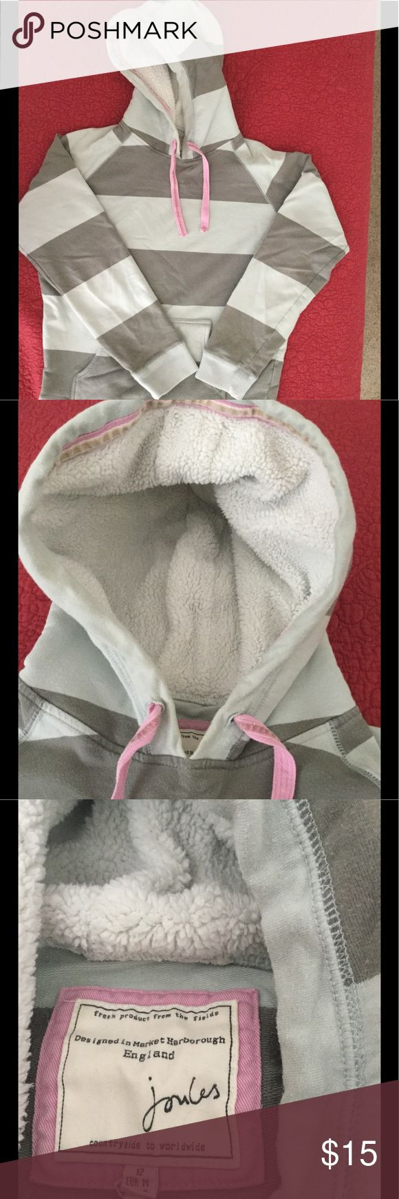 Hooded Sweatshirt. Stripped sweatshirt with fleece lined hood. The tag says the sweatshirt is a medium (size 8) but I think it's on the small side. It's 23 inches from the shoulder to bottom and 20 inches across. Joules Tops Sweatshirts & Hoodies
