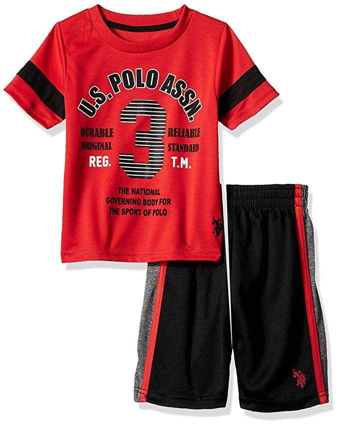 U.S Polo Assn Boys Short Sleeve Button Down Shirt 2 Piece Set