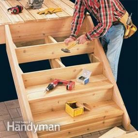 How to Build Deck Stairs: Calculating the step dimensions, laying out stringers and building a sturdy set of deck stairs. http://www.familyhandyman.com/decks/how-to-build-deck-stairs/view-all