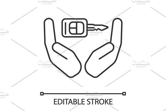 Open Palms With Car Key Linear Icon Key Drawings Open Palm Key Icon