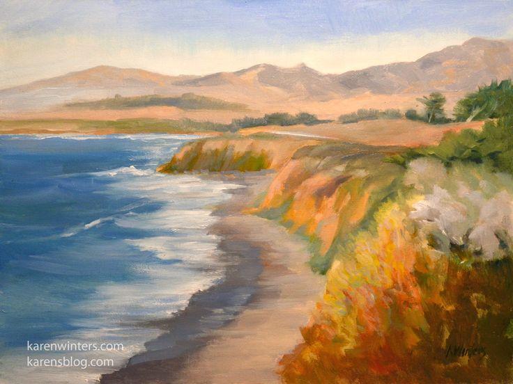 Cambria Colors – Moonstone Beach Cambria oil painting San Simeon by Karen Winters | The Creative Journey    Plein air painting painted during 2012 San Luis Obispo Plein Air Festival. SOLD.    http://www.karenwinters.com  http://www.karensblog.com