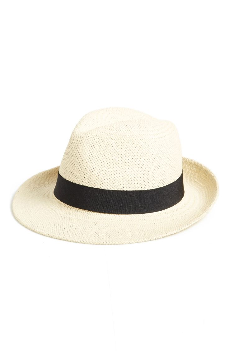 Free shipping and returns on Halogen® Straw Panama Hat at Nordstrom.com. A bold black band circles a breezy Panama hat woven in natural paper straw.