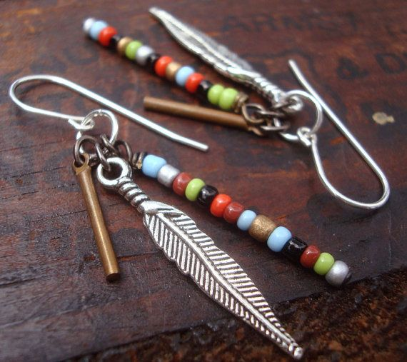 Sticks and Stones earrings. feather charms. colored seed beads. brass sticks. summery dangle. american indian. southwestern jewelry earrings