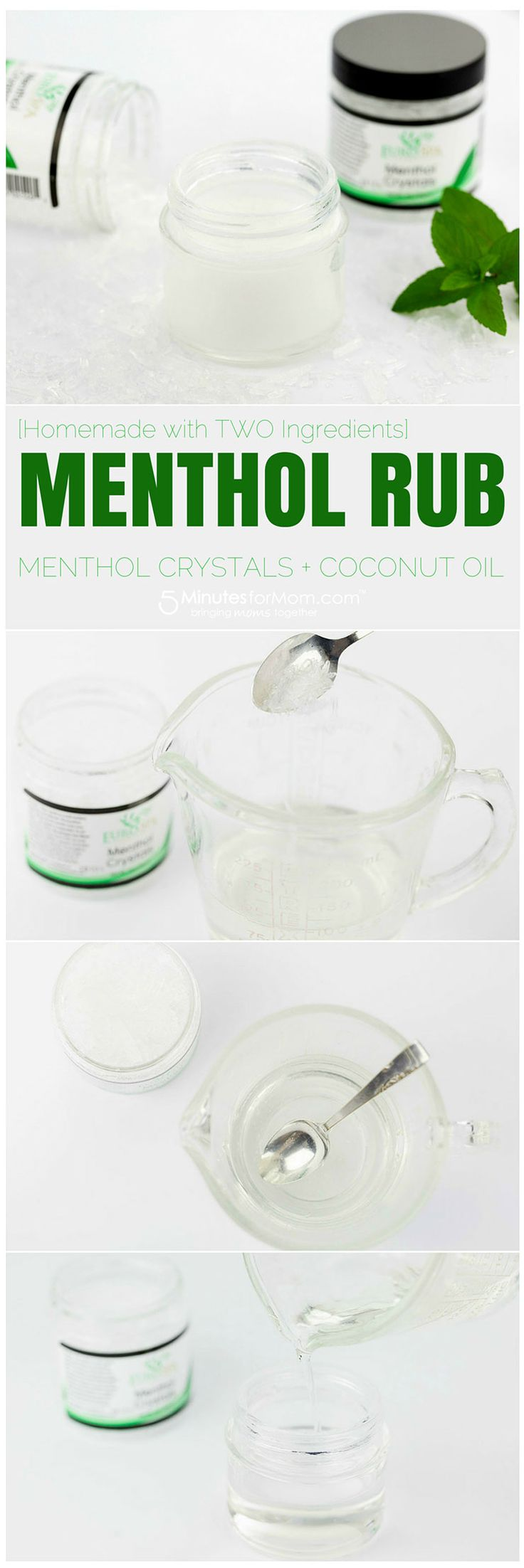 DIY Homemade Menthol Rub - Super simple homemade menthol rub with coconut oil and menthol crystals
